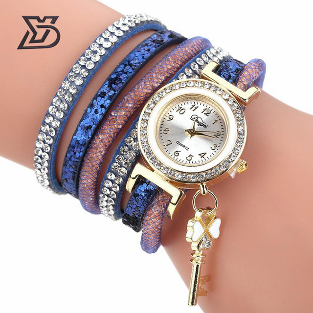 Duoya Quartz Clock Watch Women Fashion creative Crystal Rhinestone Bracelet Watc