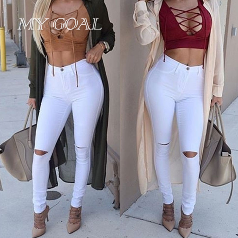 Fashion Women Jeans Cotton High Elastic Imitate Jeans Woman Knee Hole Skinny Pencil Pants Slim Jeans For Female Black Ripped Je woman fashion slim solid knee distrressed maternity wear jeans premama pregnancy prop belly adjustable pants for women c73