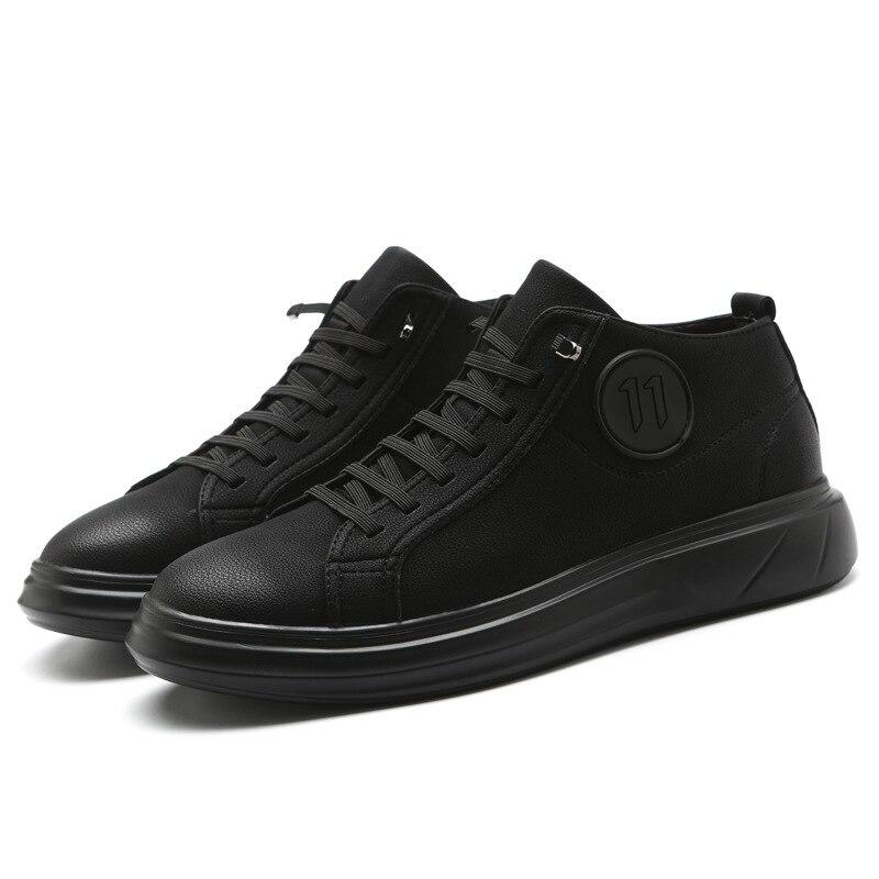 Простой и роман амортизацией одежда новая мужская повседневная обувь Мужская trend толстым дном кожаные дикий черный кроссовки с бантом для м