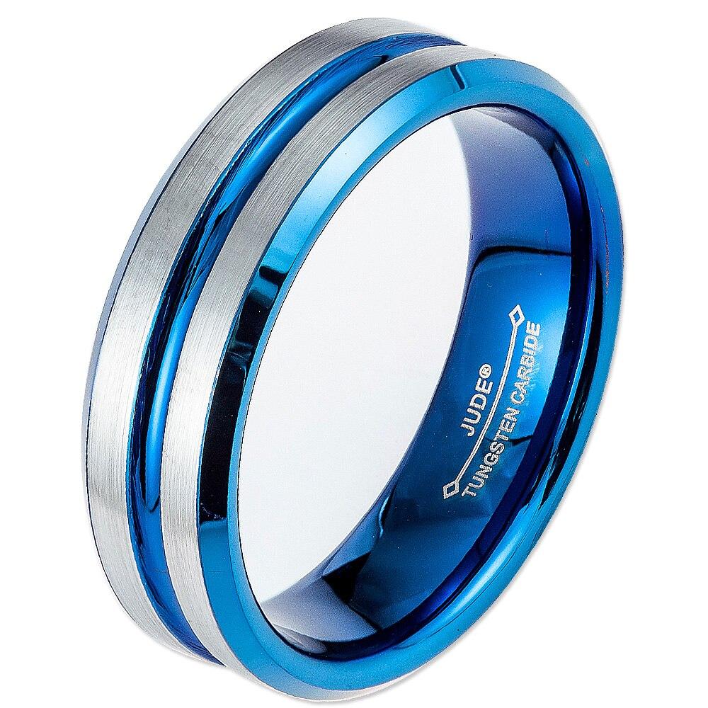6 Mm 8 Mm Männer Frauen Hartmetall-ring Hochzeits-band Blau-silber Zweifarbige Engagement Jahrestag Valentinstag Weihnachts Gfits