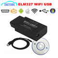 Newest Version ELM327 WIFI USB Supports iOS/Android/Windows USB ELM 327 WIFI Wireless BY Cable Code Reader Works Multi-Cars