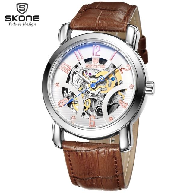 5c98df9ab91 SKONE Couro Genuíno Retro Esqueleto Relógio Mecânico Automático Relógios  Homens Relógios TOP De Luxo Da Marca