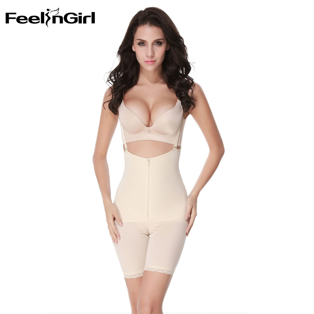 70ea8380a4a6b FeelinGirl Full Body Shaper Zipper Push Up Bodysuit Women Slim Shapewear  Cinta Modeladora Weight Loss Underwear Waist Shaper C-in Bodysuits from  Underwear ...