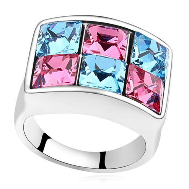 High Quality Crystal from Swarovski White Gold Plated Rings Rhinestone Square Rings For Women Bridal Wedding Jewelry 16034