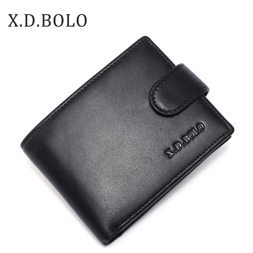X.D.BOLO 2019 Brand Genuine Leather Wallet Mens  Coin Holders Luxury Male Cowhide Purse Men Leather Wallets for Money and Cards
