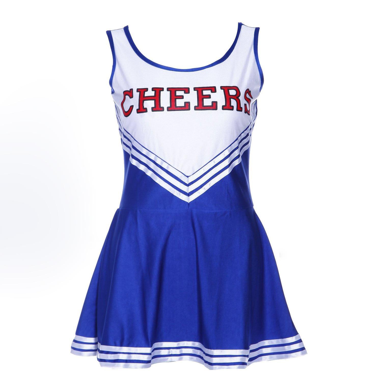 Pom-pom girl tank top dress cheer leader blue suit costume XL (42-44) school football