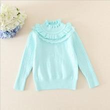 2016 осень дети девушки свитер пуловер 100% хлопок кружево вязание рубашка мода дети одежда на осень и весна размер 70-100