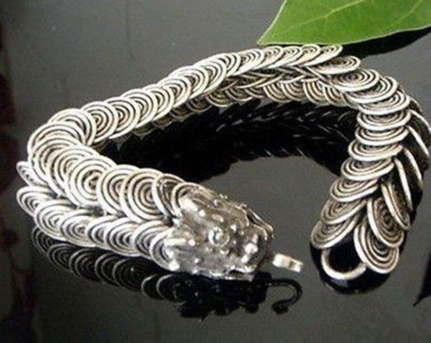 Tribal Tibet silver carved Dragon Handmade bracelet^^@^GP SHIPPING new >>free shipping