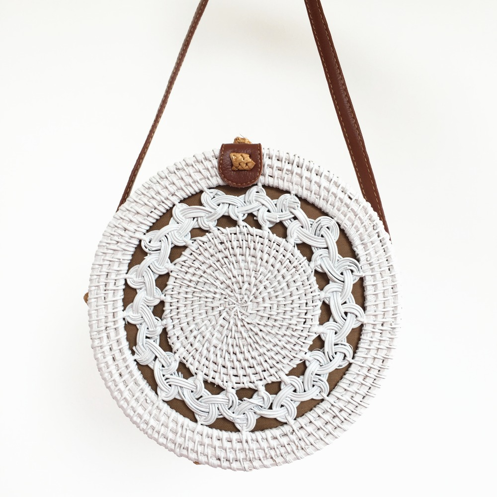 Rattan Bags White Bali Shoulder Lady Bag Round Summer Beach Crossbody Bag Womans Handbags Brands Designers Straw Bags 2019