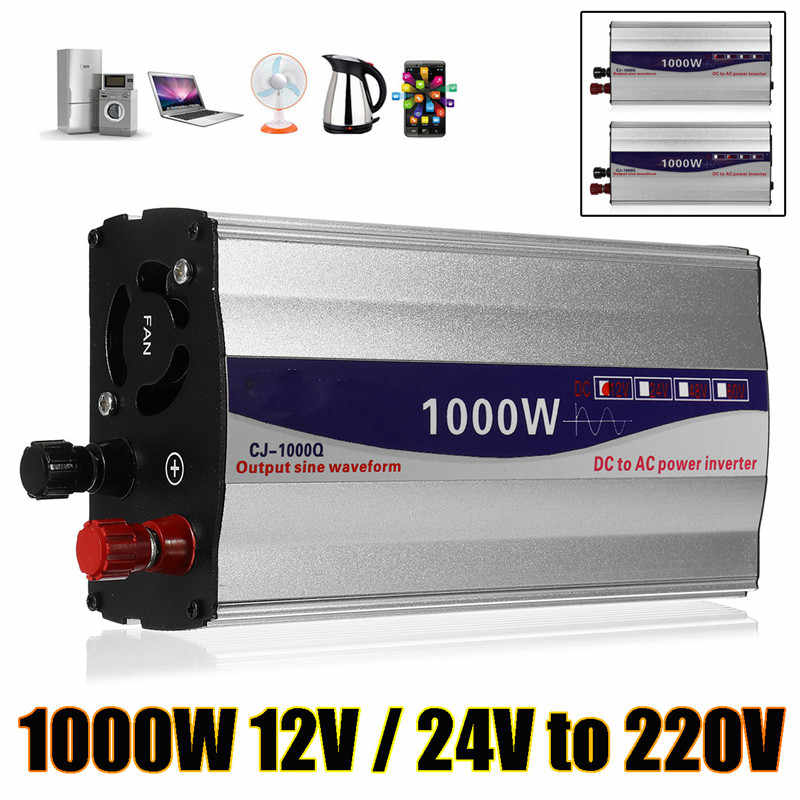 Conjunto 1 Display LED 1000 w Pure Sine Wave Power Inverter 12 v/24 v A 220 v Conversor transformador da fonte de Alimentação Do Inversor
