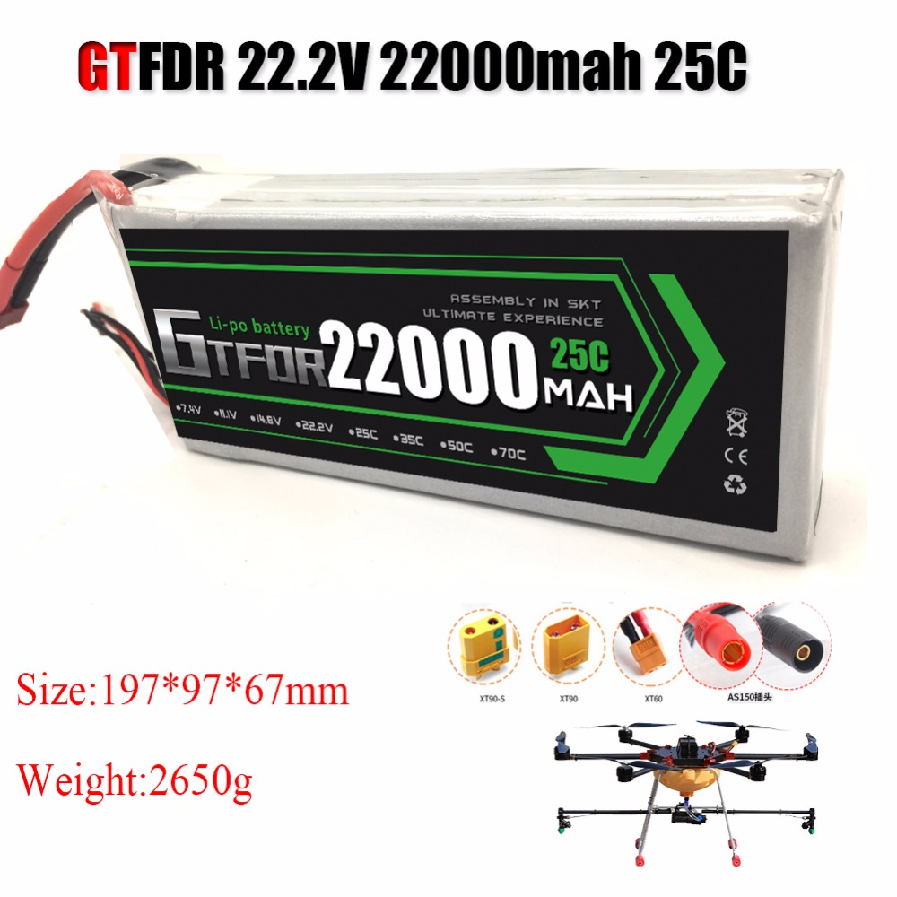 GTFDR Power Li-polymer <font><b>Lipo</b></font> Battery <font><b>6S</b></font> 22.2V <font><b>22000mah</b></font> 25C Max 50C For Helicopter RC Model Quadcopter Airplane Drone CAR FPV image