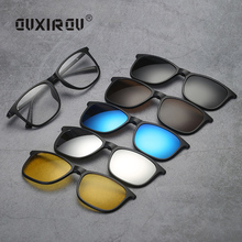 New Fashion Sunglass Men Women Goggles Eyeglasses Frames Polarized Magnetic 5 Clip On Tinted Glasses Male Driving Spectacle 2263