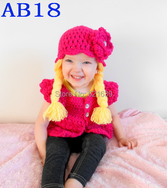 Free Shipping Crochet Pigtail Hat Cabbage Patch Doll Hat Hot Pink