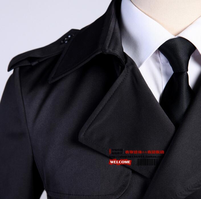 Модный тонкий сексуальный длинный плащ Мужское пальто с длинным рукавом мужская одежда двубортная Верхняя одежда casaco Весна 2019 черный - 4
