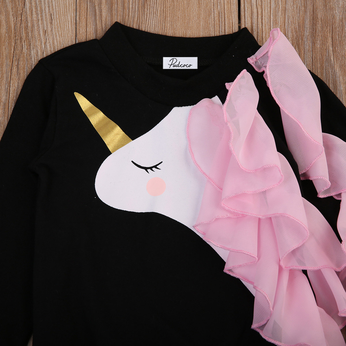 Able Newborn Baby Girls Unicorn Ruffle Tops Tshirt Sweatshirts Long Sleeve Autumn Clothes
