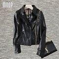 Черный натуральная кожа куртки женщин 100% Овчины мотоциклетная куртка пальто весте cuir настоящие pour femme jaqueta де couro LT714