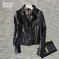 Black genuine leather jackets women 100% Lambskin motorcycle jacket coats veste cuir veritable pour femme jaqueta de couro LT714