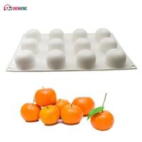 SHENHONG 12 отверстий оранжевый десерт силиконовая форма для выпечки помадка плесень Фрукты кастрюля для Мусса формы для выпечки шоколад Moule тес...