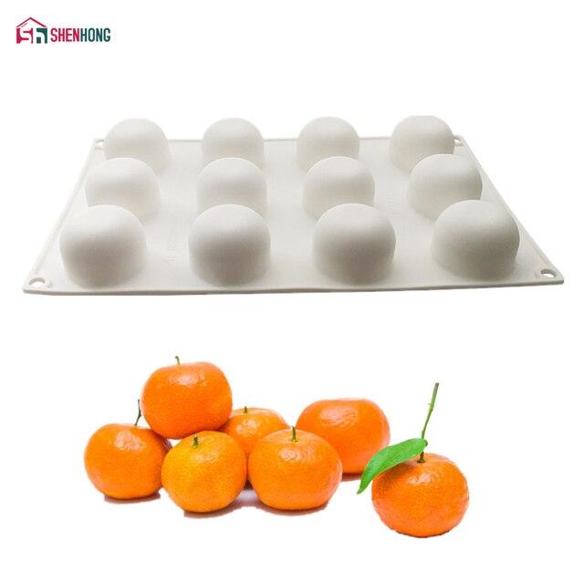 SHENHONG 12 Fori Arancione Da Dessert Torta Del Silicone Della Muffa Per La Cott