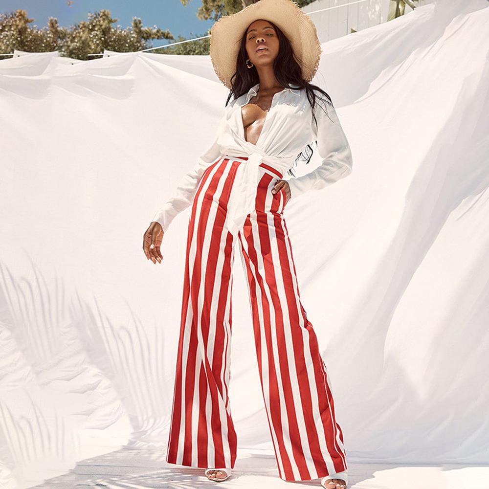 striped wide leg   pants   women Summer beach high waist trousers Chic streetwear Elastic Waist casual   pants     capris   female
