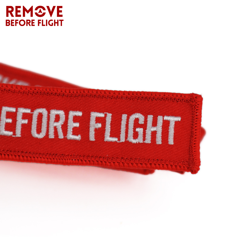 Remove Before Flight Key Chain Chaveiro Red Embroidery Keychain Ring for Aviation Gifts OEM Key Ring Jewelry Luggage Tag Key Fob2 (6)