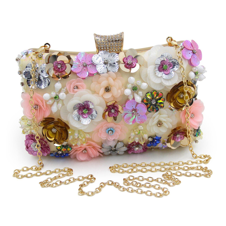 WCS-Women Clutches Colorful Flower Evening Bag Sequins Clutch Purse