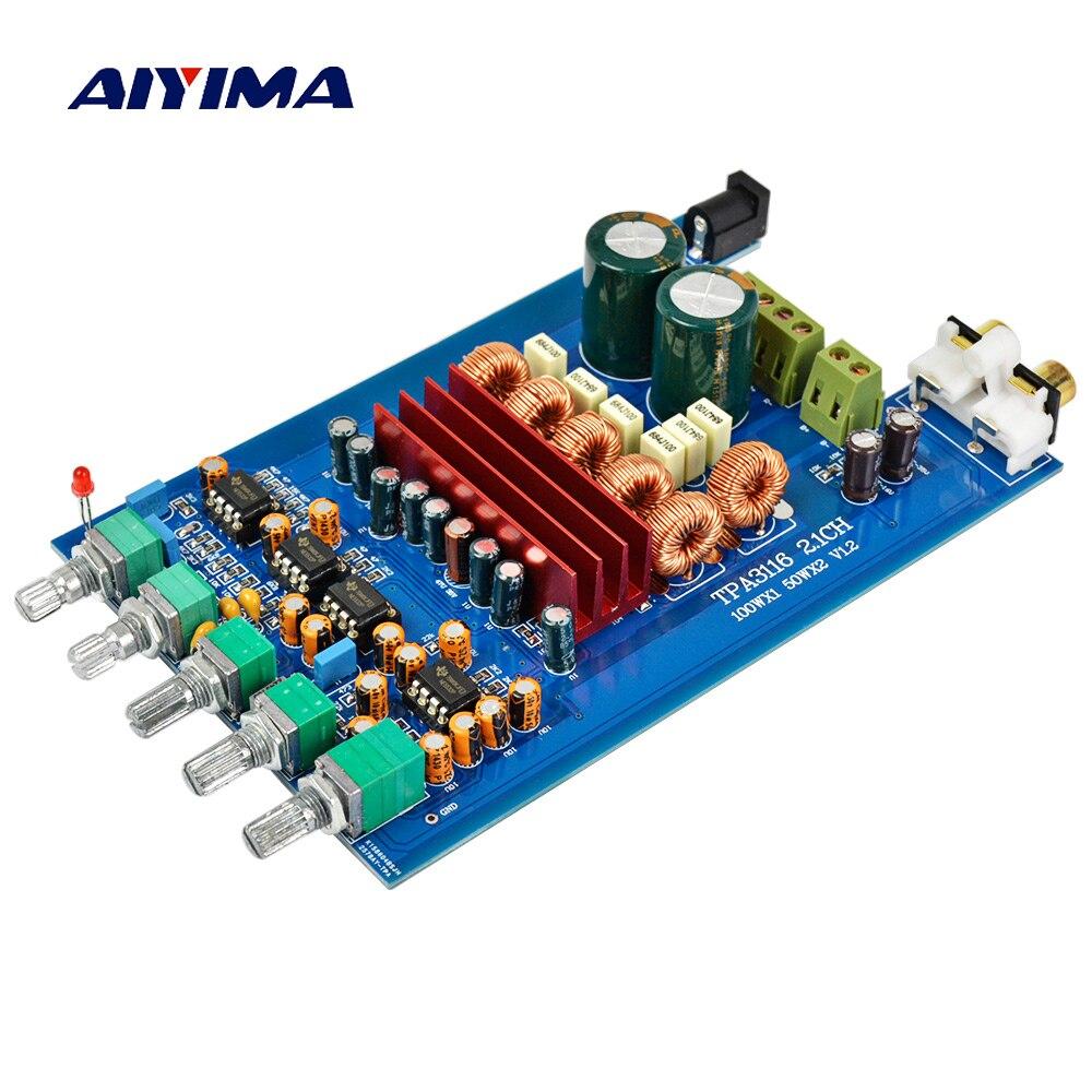 Aiyima TPA3116 2.1 Digital Audio Conseil Amplificateur 50 W * 2 + 100 W TPA3116D2 Subwoofer Amplificateur DIY Son Système haut-parleur Home Cinéma