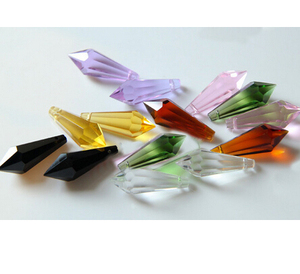 Image 2 - 300pcs mixed color 38mm crystal icicle prism U drop pendant customer can choose special colors