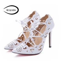 WEIQIAONA 2019 New Big Size 35 43 Women Shoes Pumps Gold and White Heels Sexy High Heels Party Wedding Shoes Hollow Lace up
