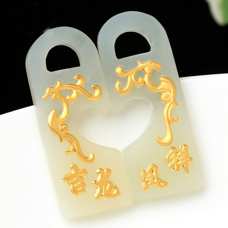 A Pair Of Real 24K Yellow Gold With Natural Hetian Dragon Phoenix Pendant Nephrite цена