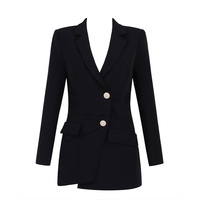 New Arrival Autumn 2018 Women Sexy V Neck Black Blazers Outwears Single Breasted Designer Coats