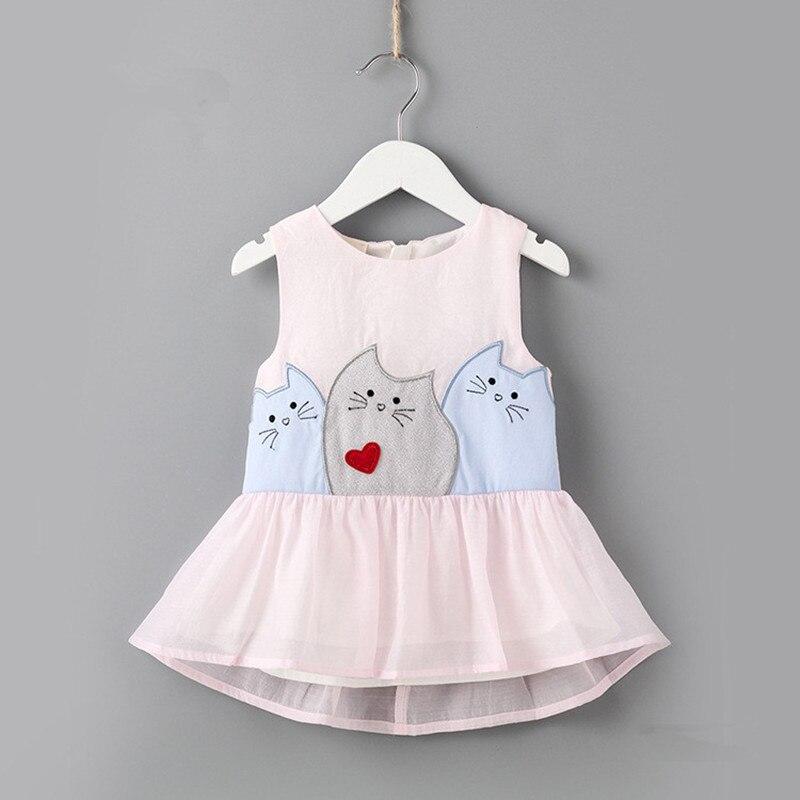 Baby Dresses 2018 Summer Baby Girls Dress Cartoon Three Cat Print Princess Dress Cute Cotton Kids Clothing 0-2T pink