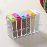 6Pcs/Set Transparent Coloful Plastic Spice Rack Kitchen Seasoning Jar Salt Suger Spice Pepper Storage Rack Flavouring Box