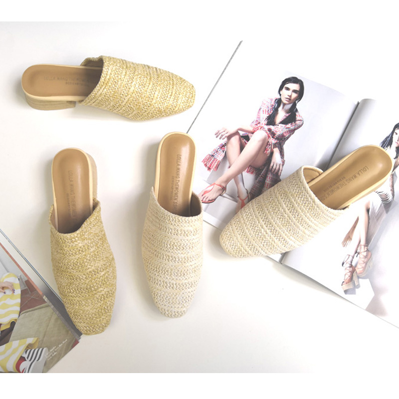 Ladies Slides Fashion Mules Women Weaving Mules Chunky Heel Women Cane Slippers Spring Autumn Ladies Slider Shoes