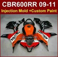 Hot sale fairings for HONDA CBR 600RR 09 10 11 CBR 600 RR repsol orange fairing kits 2009 2010 2011 cbr600rr +7gifts
