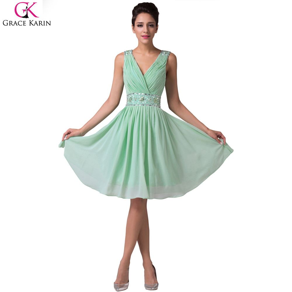 Grace karin mint green bridesmaid dresses short chiffon for Dresses for wedding bridesmaid