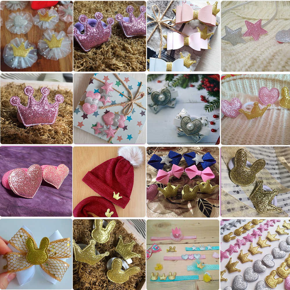 8ec2504392 Cheer Bows Shiny Glitter Padded Patches Crown Dolphin/Elephant Appliques  DIY Baby Clothes Hair Clips Ornament Accessories 5pcs