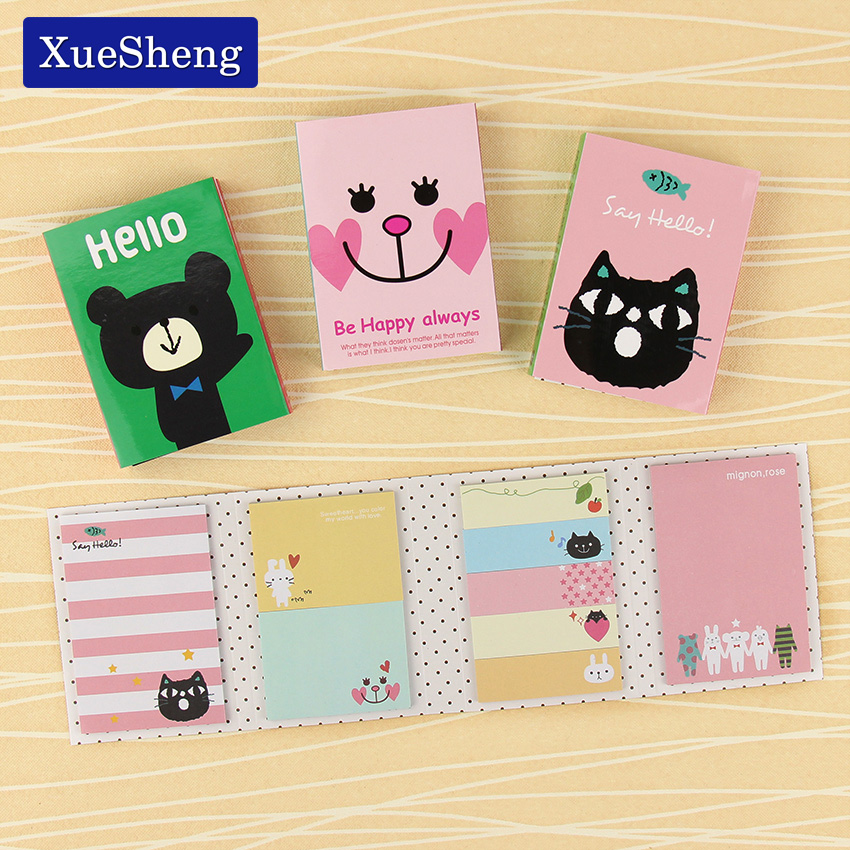 1 PCS Cute Cartoon Animal Cat Bear Memo Pad Sticky Post it Note Kawaii Sticker for kids Korean Stationery