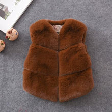 Clobee 2018 Autumn And Winter Imitation Fur Children's Faux Fur Vest Stitching Artificial Rabbit Hair Baby Clothing Jacket QV212(China)