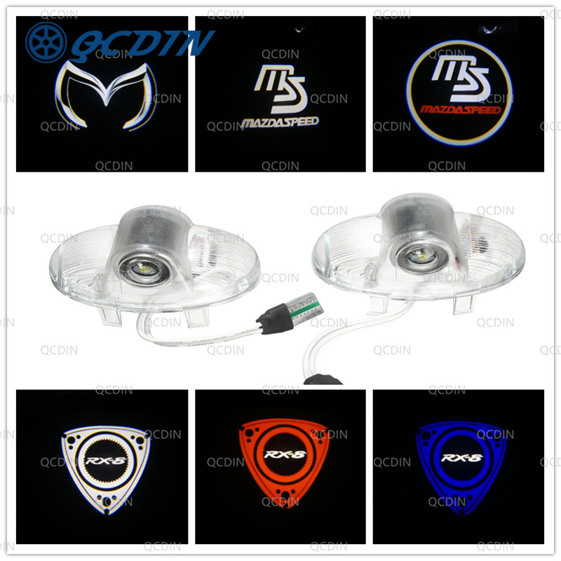 QCDIN 2Pcs LED Car Door Welcome Light Logo Projector For MAZDA RX8 MAZDA6 MAZDASPEED CX-9 MAZDA 8 ATENZA MAZDA MPV Ruiyi