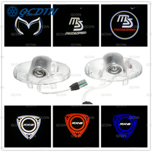 QCDIN 2Pcs LED Car Door Welcome Light Logo Projector For MAZDA RX8 MAZDA6 MAZDASPEED CX 9