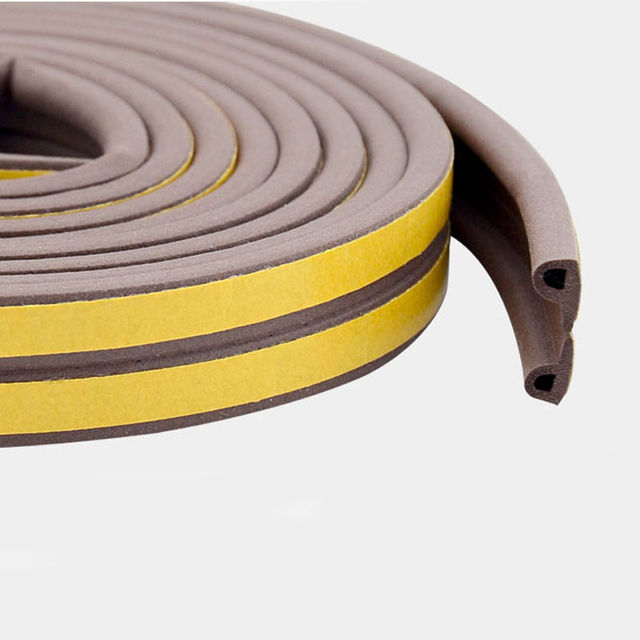 20M P Tape Wood Window Door Foam Seal Strip Weatherstrip Self Adhesive  Rubber Roll Sound Insulation