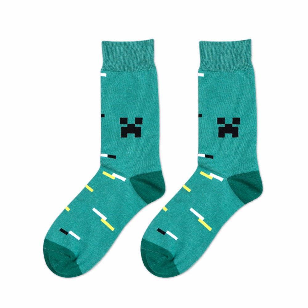 In stock Funny Socks Men Hit Color square Jacquard filled optic combed Cotton Male Sock wedding long new year socks hot sale