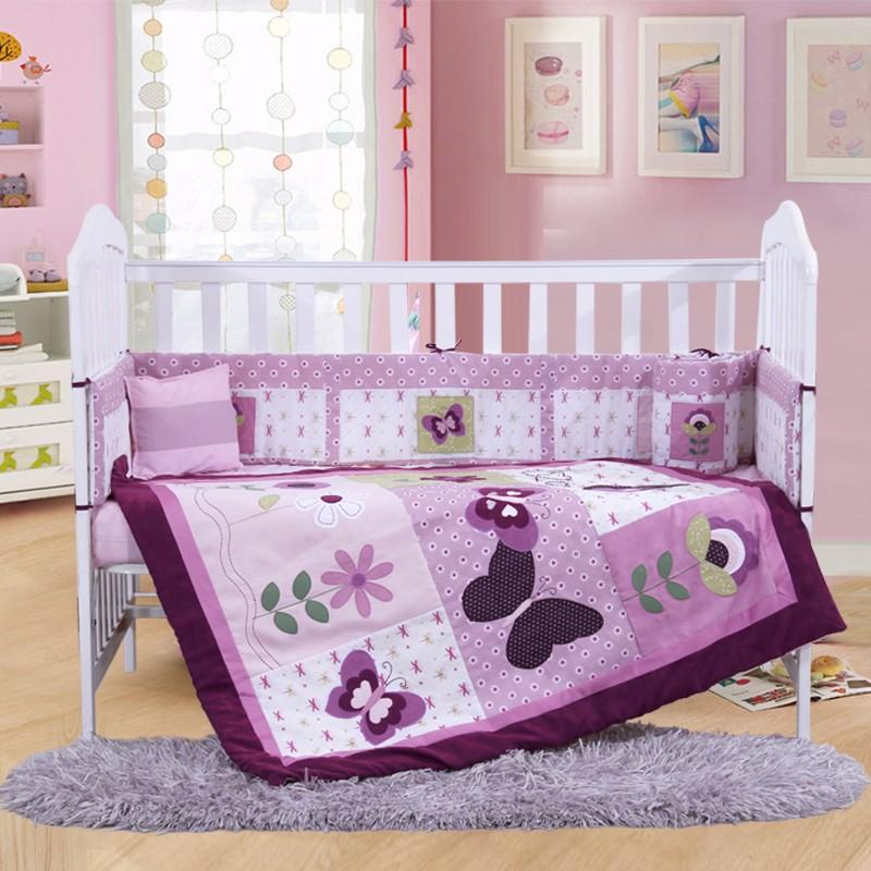Discount 4pcs Purple Baby Bedding Set Boys Girl Crib Bedding Sets
