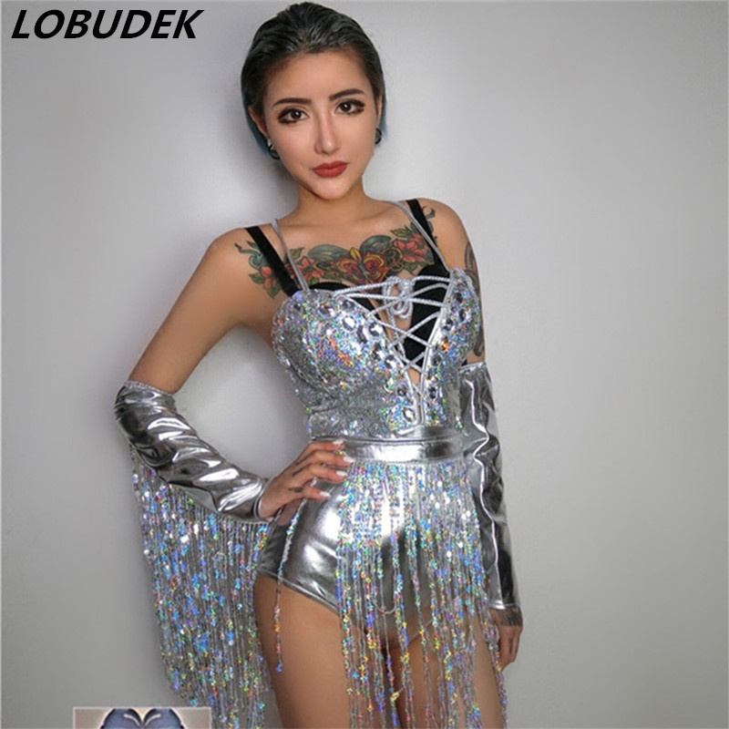 Colorful Crystals sequins Bodysuit V-neck sexy slim jumpsuit female singer Nightclub DJ DS costume Teams Party show stage wears