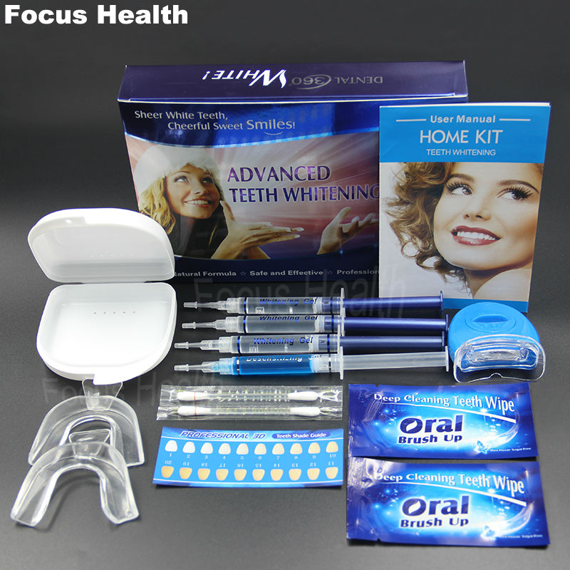 Professional Teeth Whitening Kit With 4 Gel 2 Strips 1 Led