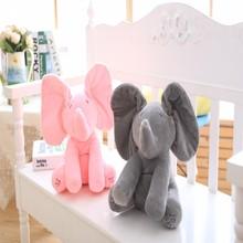 Peek-A-Boo слон Набивные плюшевые игрушки слон игрушка, плюшевые игрушки и музыкальных Baby Doll анимированные Flappy подарок для малышей Рождественский подарок