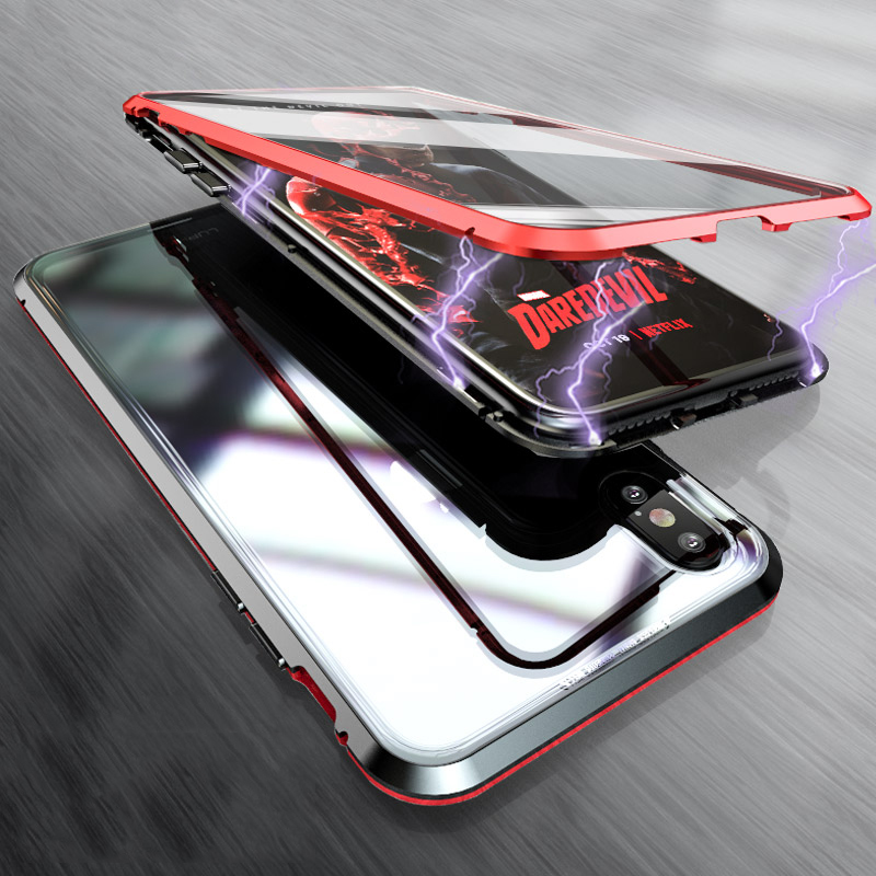 Luxury Double glass Metal Magnetic Case for iPhone XS MAX iPhone X XR 7 8 Plus 8plus Phone Case Magnet Cover 360 Full Protection (5)