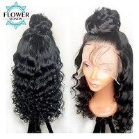 FlowerSeason вьющиеся Glueless полный кружево натуральные волосы Искусственные парики перуанский волосы remy парик предварительно сорвал Hairline 130% Плот