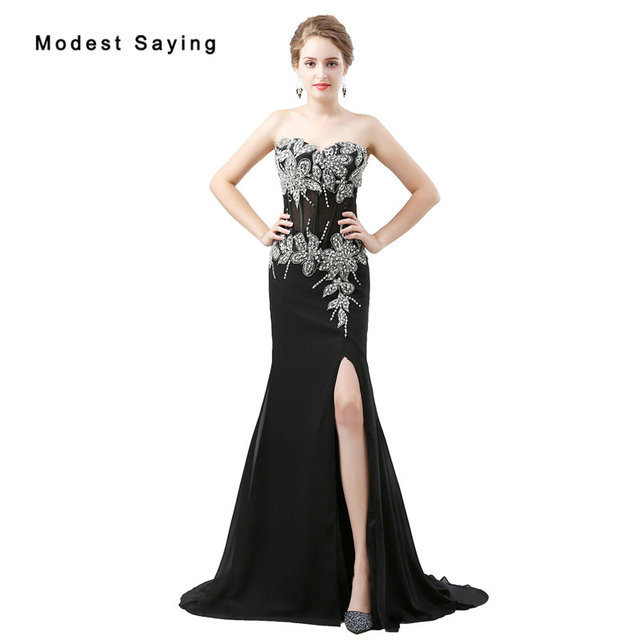 a63a972314 2018 Fashion Sexy Split Black Crystal Beaded Lace Evening Dresses Luxury  Mermaid Sweetheart Party Long Prom Gowns robe de soiree